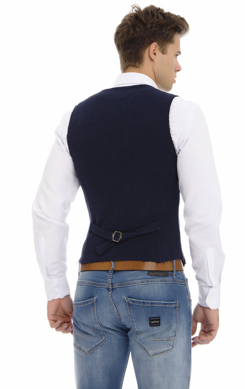 Collared Zip Button Closure Vest - Navy - Ron Tomson