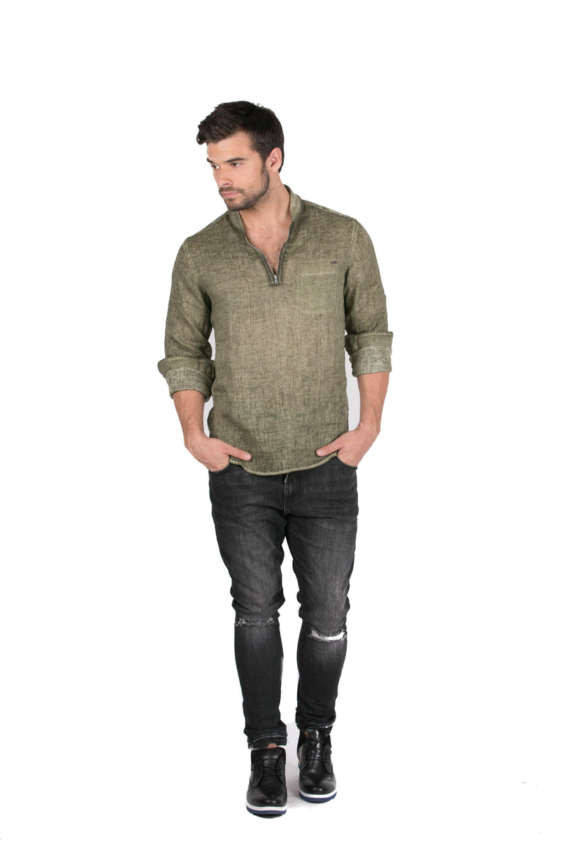Collared Zip-Front Linen Shirt-Shirts-RON TOMSON-KHAKI-S-Ron Tomson