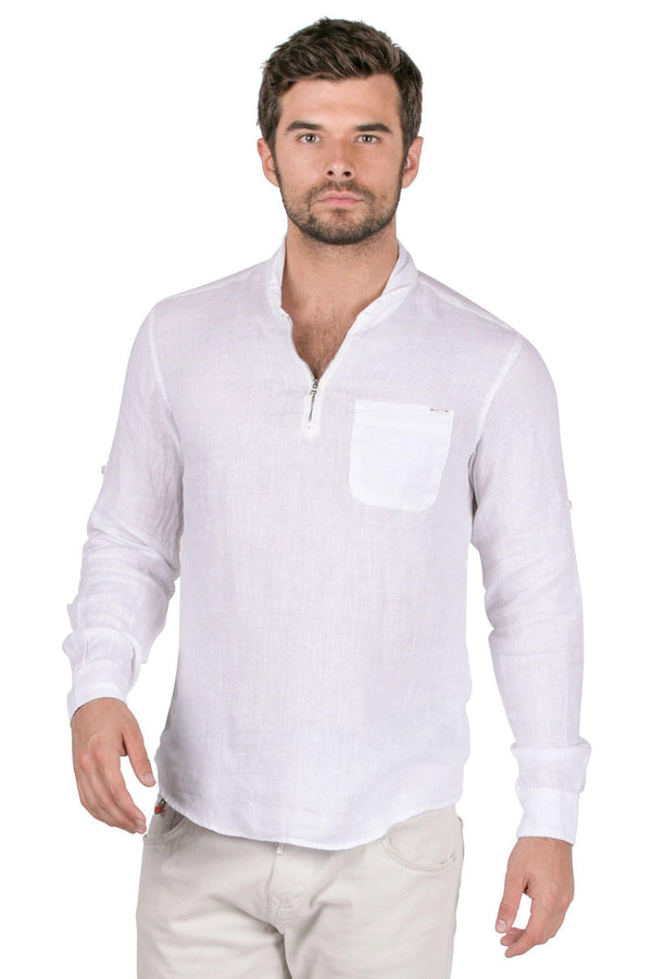 Collared Zip-Front Linen Shirt-Shirts-RON TOMSON-WHITE-S-Ron Tomson