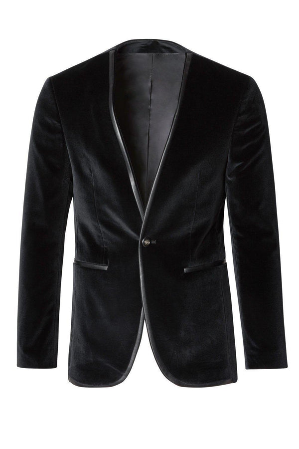 Collarless Velvet Tuxedo - Black - Ron Tomson
