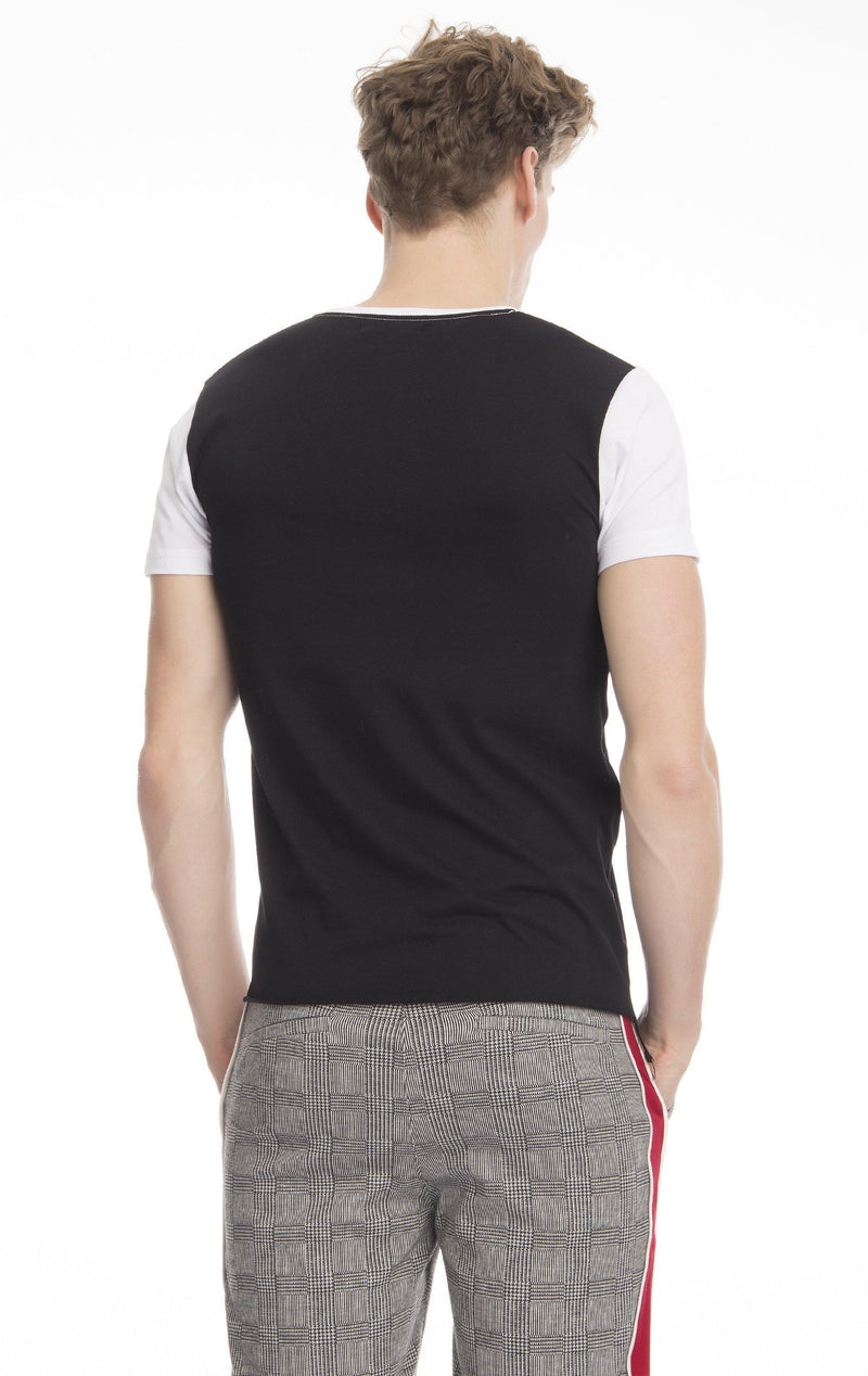 Color Block Pocket Fitted T-shirt-T-shirts-Ron Tomson-BLACK-S-Ron Tomson