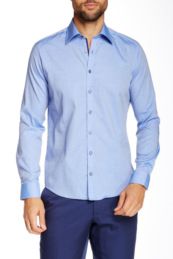 Contrast button dress shirt - blue