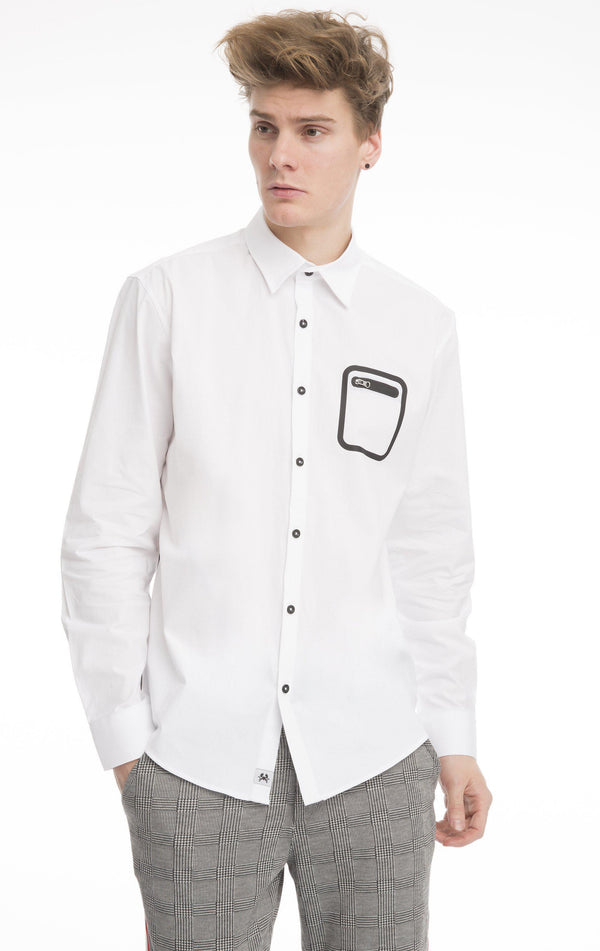 Contrast Cord Zipper Fitted Shirt-Shirts-Ron Tomson-WHITE-M-Ron Tomson