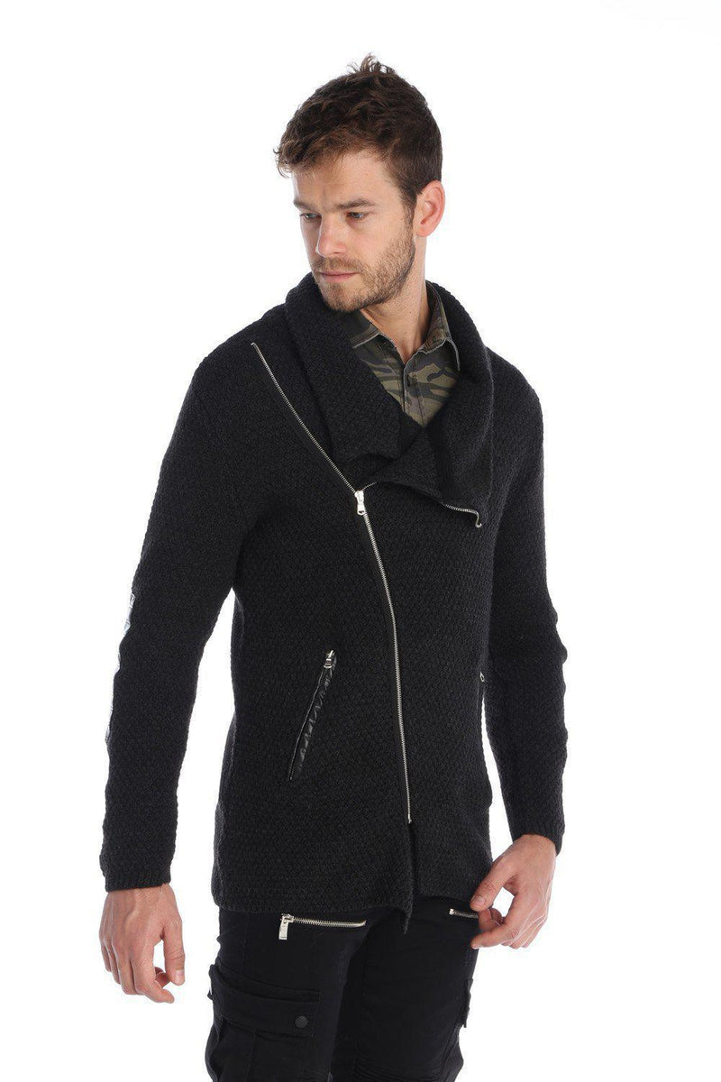 Contrast Elbow Patch Zipper Cardigan - Ron Tomson