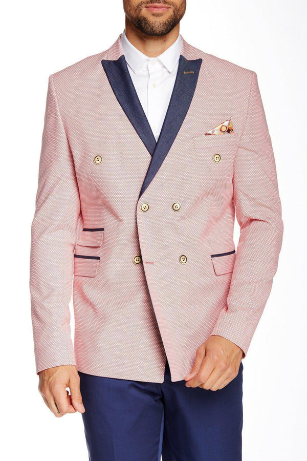 CONTRAST LAPEL DOUBLE BREASTED BLAZER - RED 2 - Ron Tomson