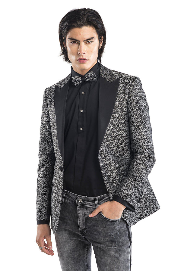 Contrast Peak Lapel All Over Floral Tuxedo - Black Silver - Ron Tomson