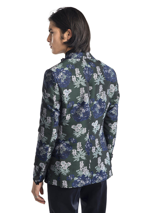Contrast Peak Lapel All Over Floral Tuxedo - Navy Green