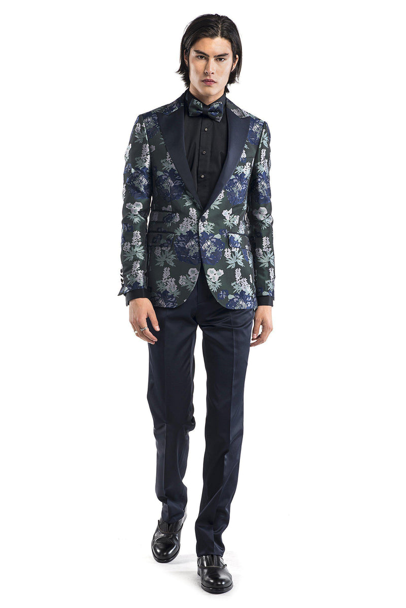 Contrast Peak Lapel All Over Floral Tuxedo - Navy Green - Ron Tomson