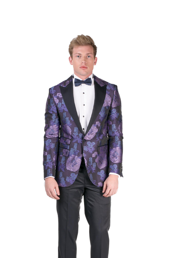 Contrast Peak Lapel All Over Floral Tuxedo - Purple Navy