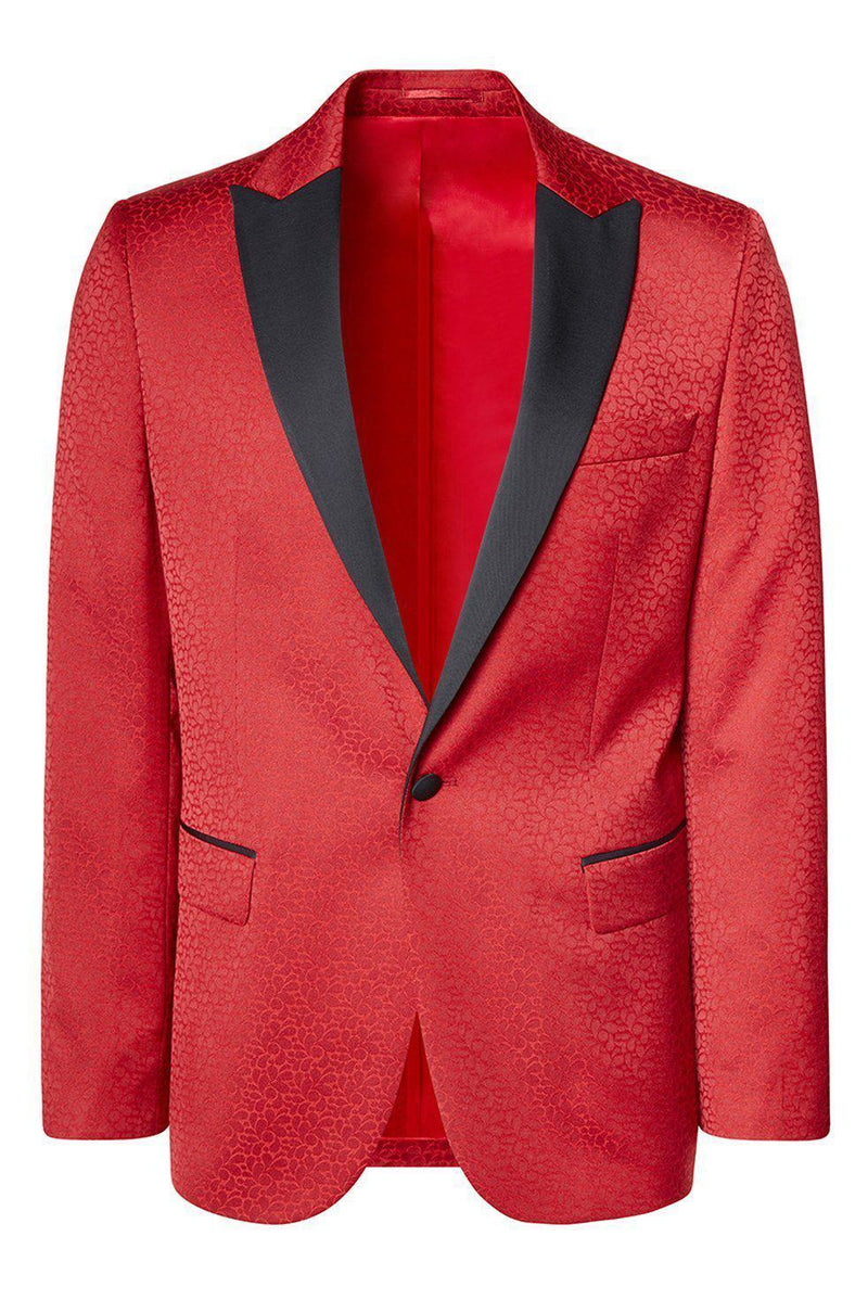 Contrast Peak Lapel Pattern Tuxedo - Red - Ron Tomson