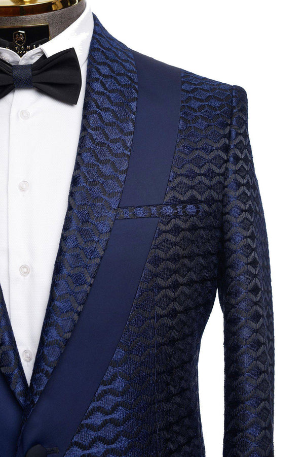 Contrast Placket Lace Tuxedo - Navy - Ron Tomson