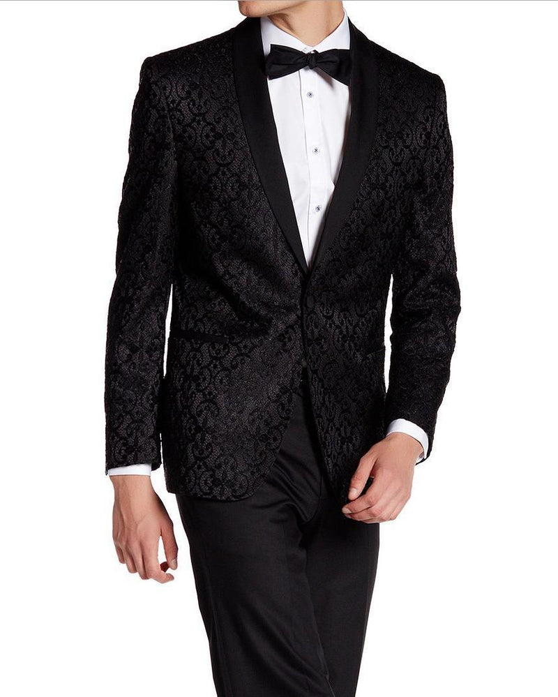 Contrast Shawl Lapel All Over Lace Tuxedo - Black - Ron Tomson