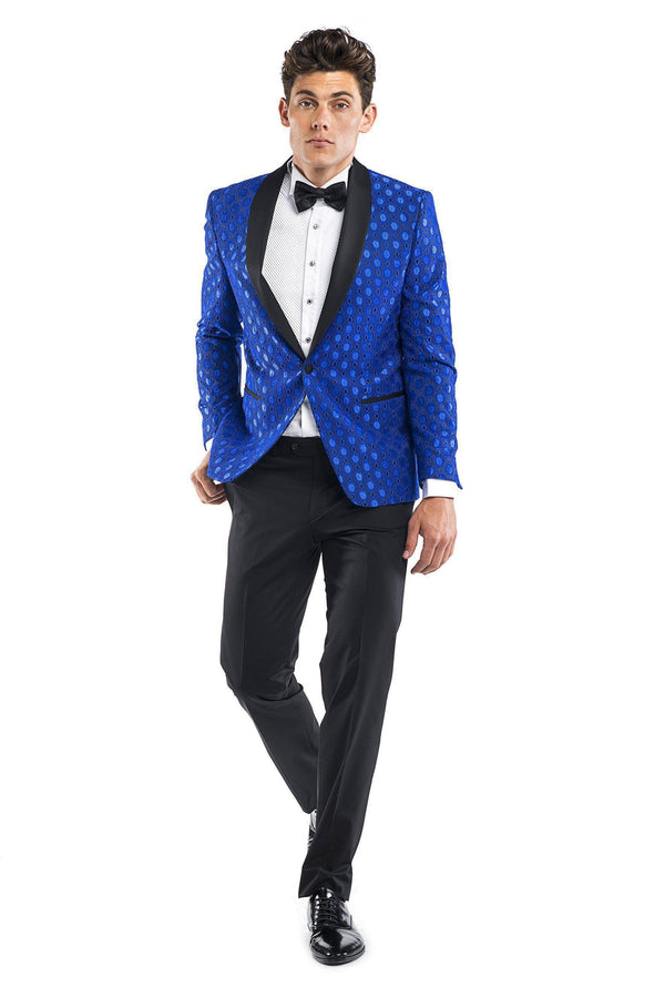 Contrast Shawl Lapel Medallion Tuxedo - Blue-Tuxedos-Ron Tomson-BLUE-36-Ron Tomson