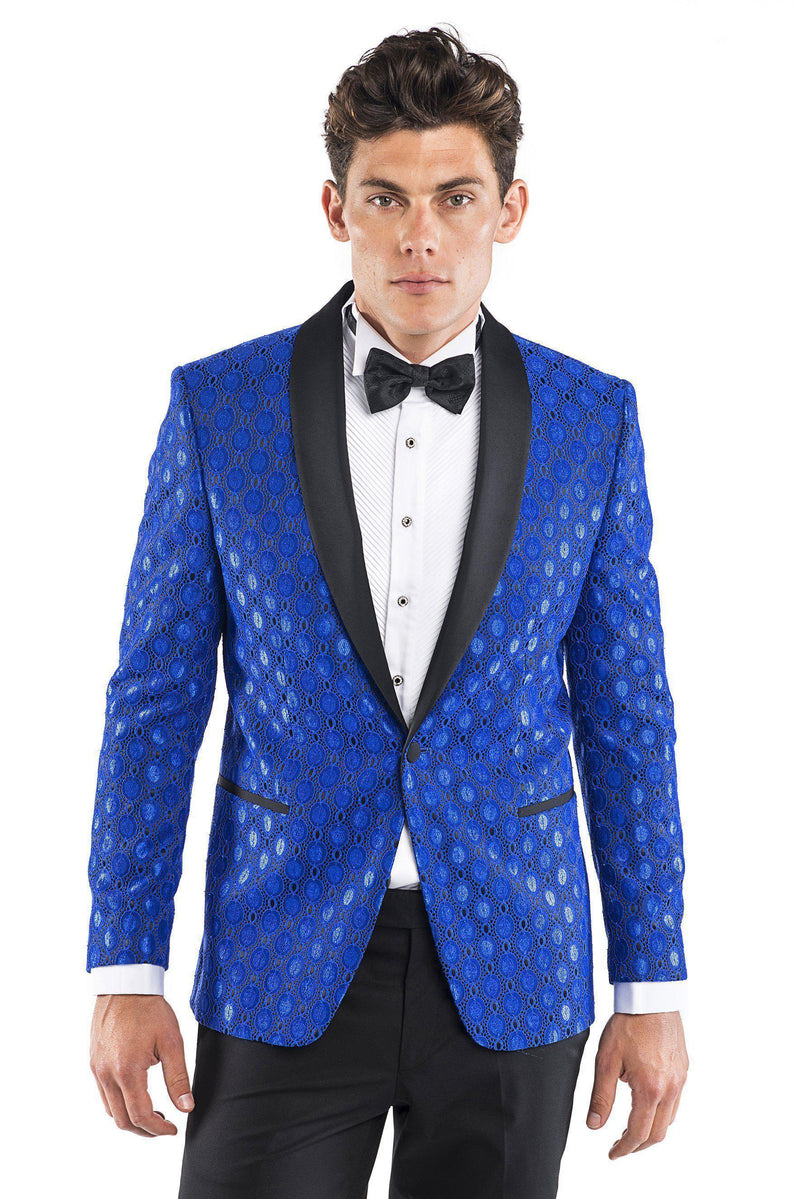Contrast Shawl Lapel Medallion Tuxedo - Blue - Ron Tomson