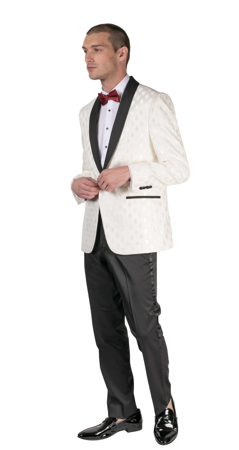 Contrast Shawl Lapel Medallion Tuxedo - White - Ron Tomson