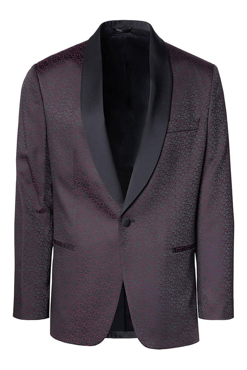 Contrast Shawl Lapel Tuxedo - Black Burgundy - Ron Tomson