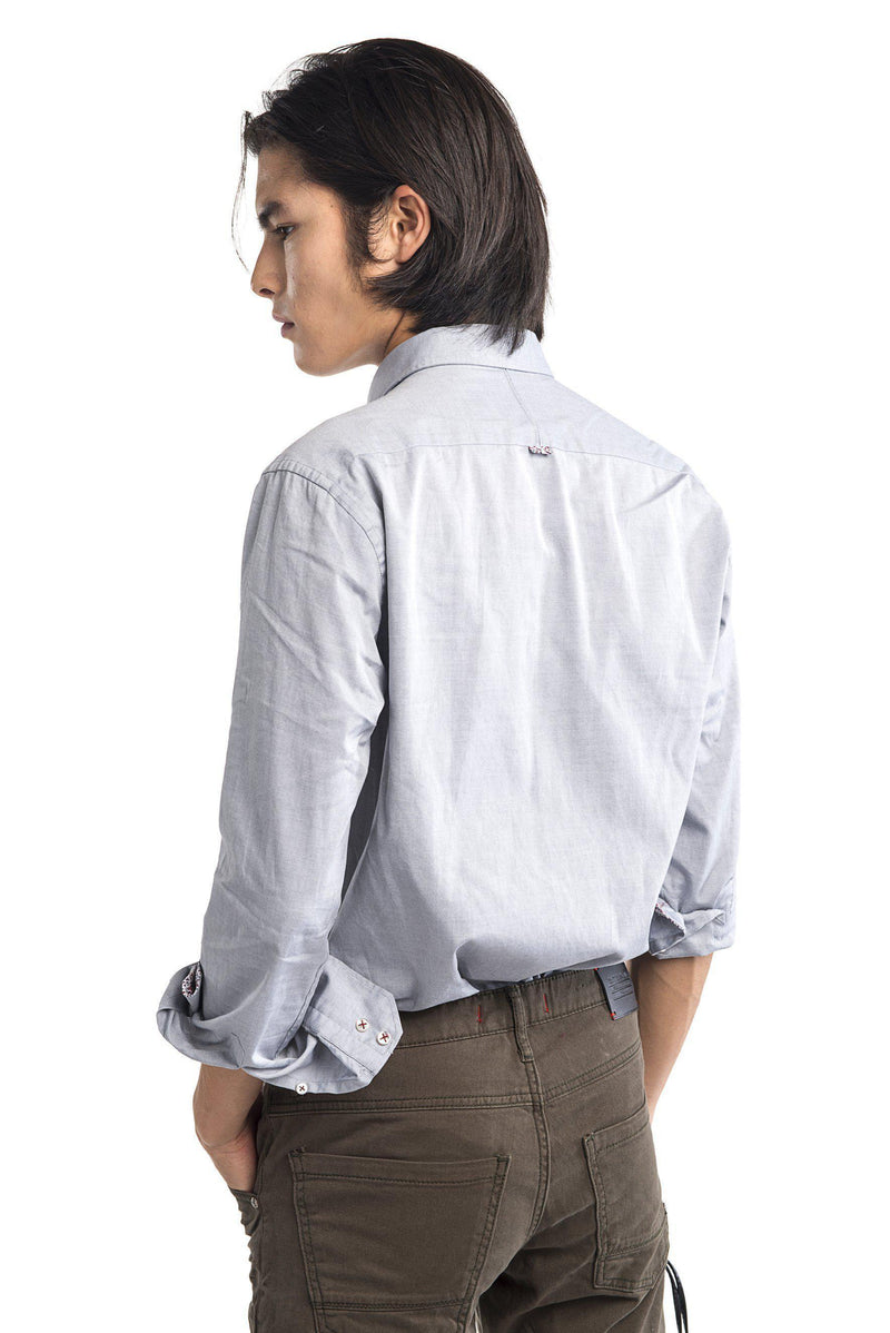 Contrast Slim Fit Spread Collar Shirt - Grey - Ron Tomson