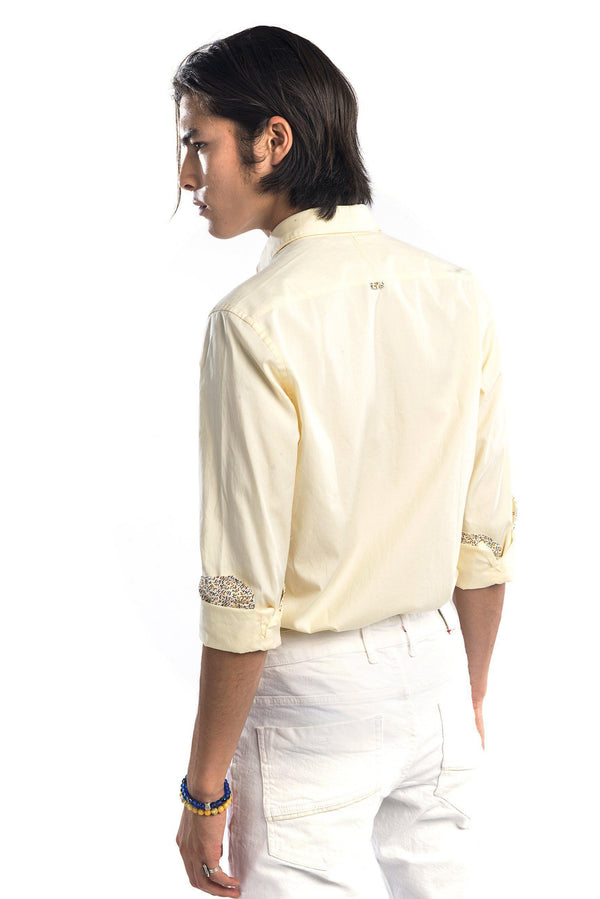 Contrast Slim Fit Spread Collar Shirt - Yellow