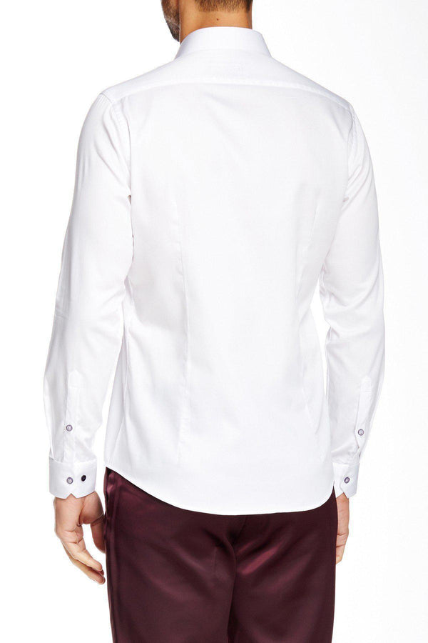 Contrast stitching dress shirt - White Grey