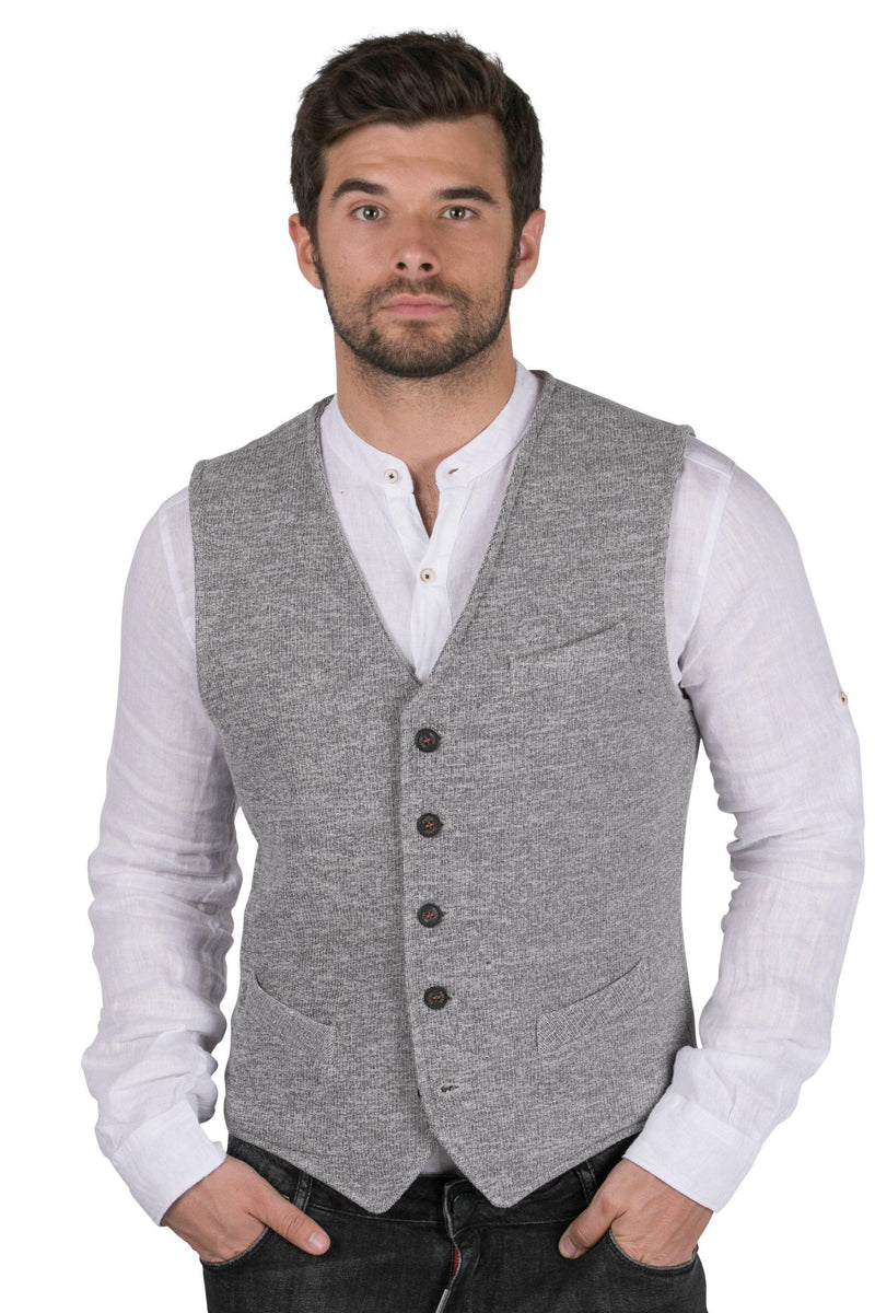 Contrast Stitching Knit Fitted Vest-Vests-Ron Tomson-GREY-S-Ron Tomson