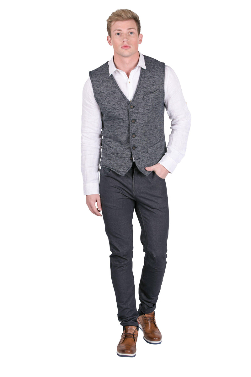 Contrast Stitching Knit Fitted Vest-Vests-Ron Tomson-BLACK-S-Ron Tomson