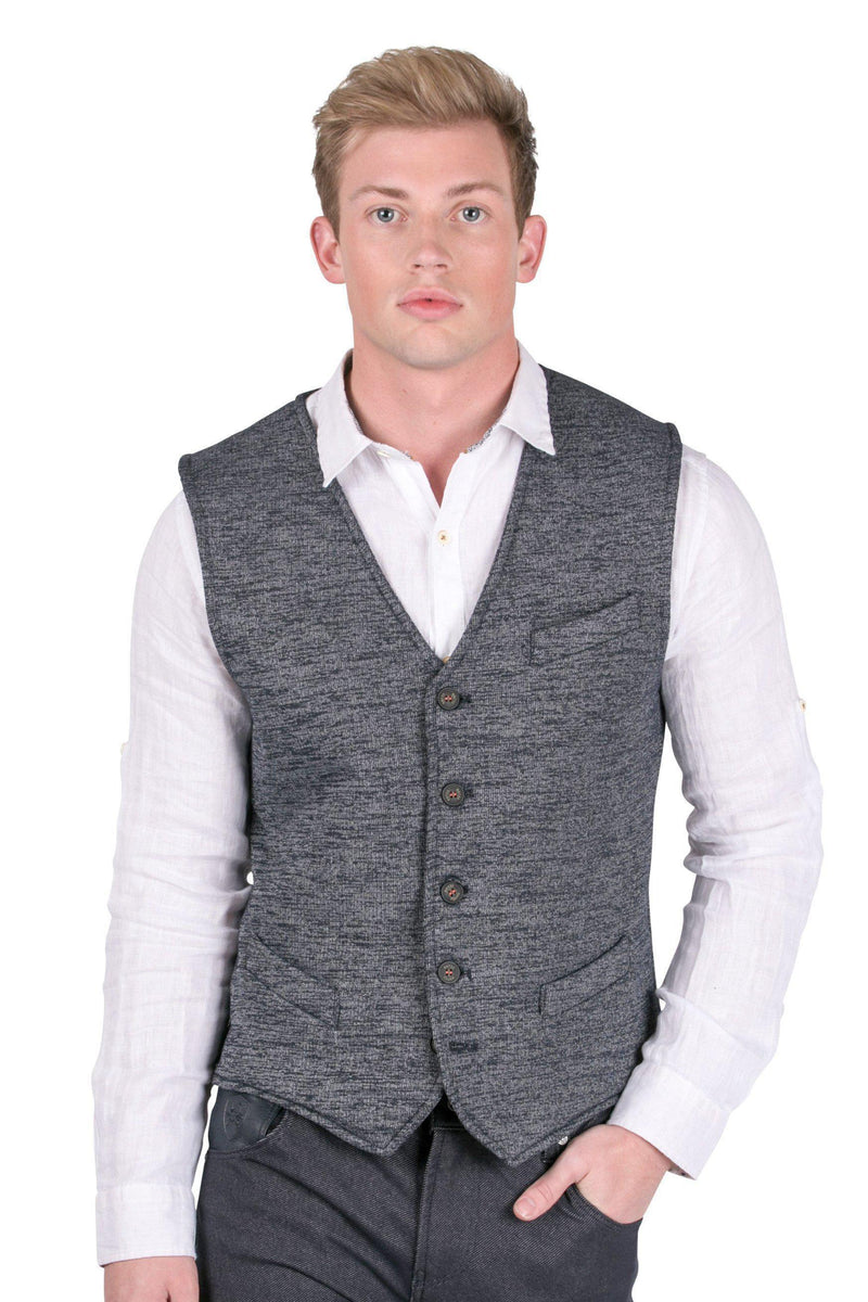 Contrast Stitching Knit Fitted Vest-Vests-Ron Tomson-NAVY-S-Ron Tomson
