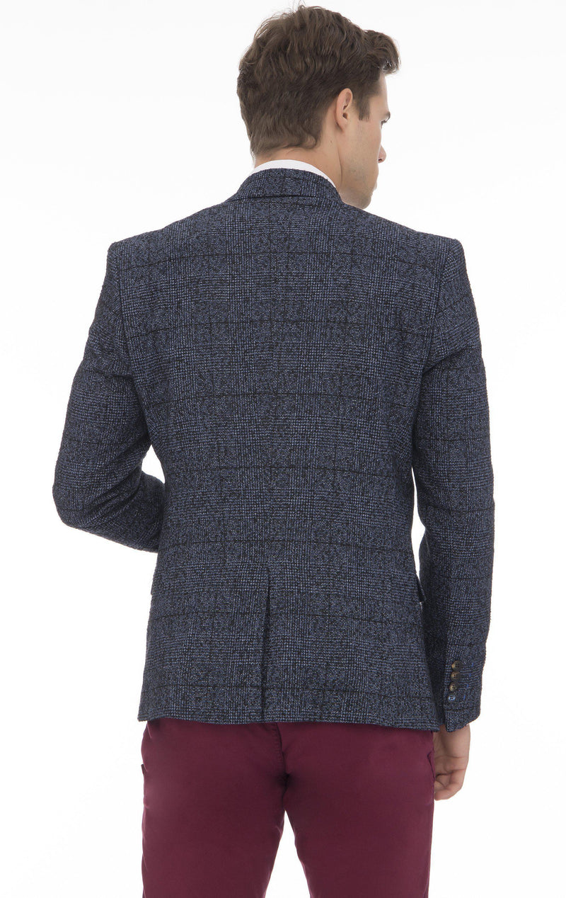 CONTRAST WINDOWPANE HERRINGBONE SPORT COAT - NAVY - Ron Tomson