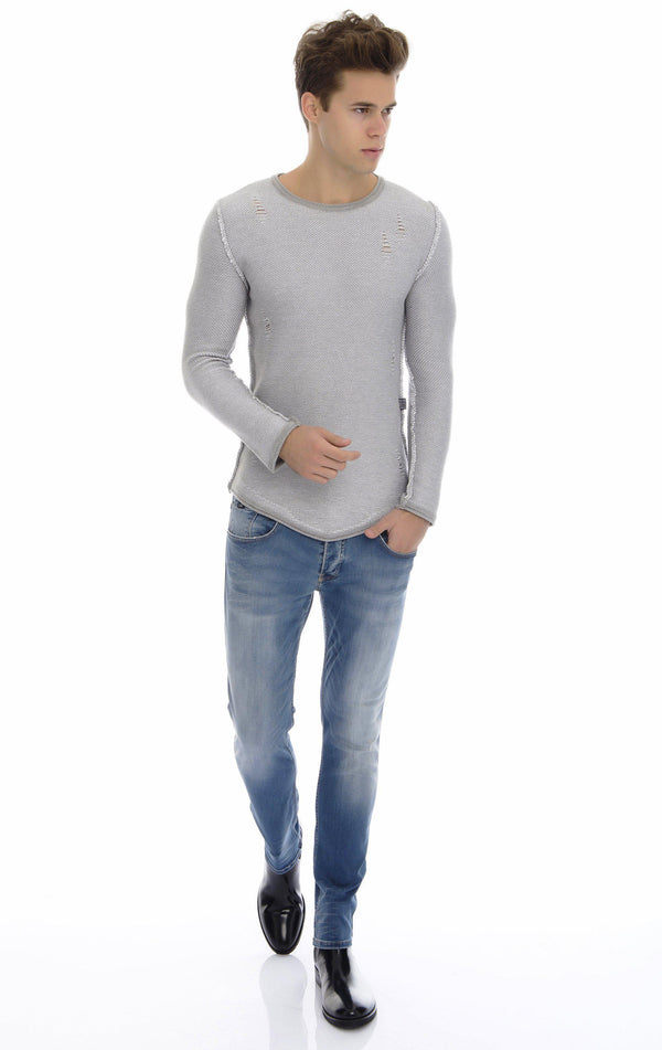 CONTRAST WOOL DISTRESSED SWEATER - GREY - Ron Tomson
