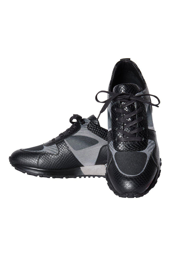 Contrasting Leather Sneakers - Black