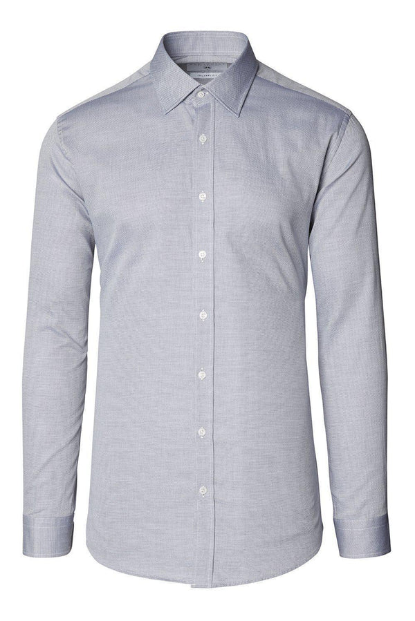 Convertible Cuff Oxford Cotton Spread Collar Dress Shirt - Grey - Ron Tomson