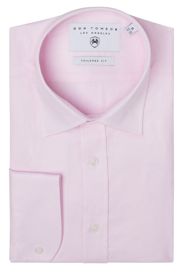 Convertible Cuff Oxford Cotton Spread Collar Dress Shirt - Light Pink