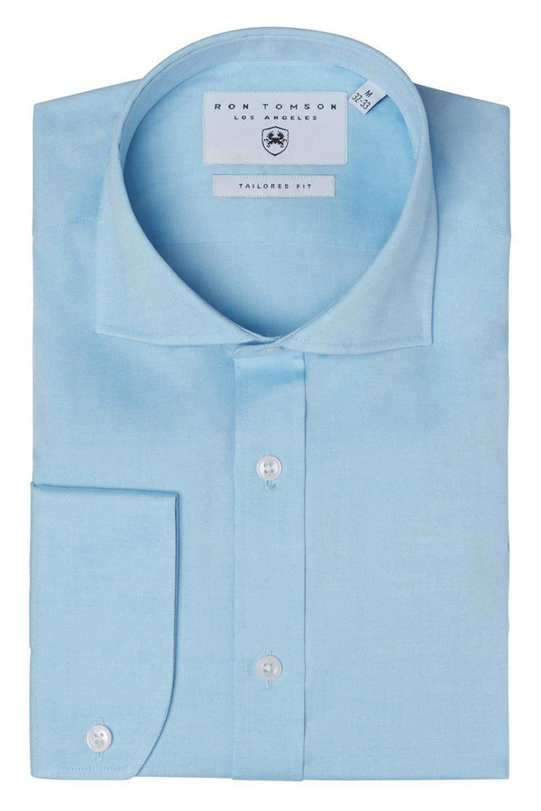 Convertible Cuff Oxford Cotton Spread Collar Dress Shirt - Turquoise