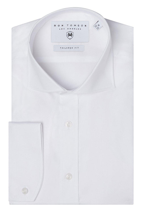 Convertible Cuff Oxford Cotton Spread Collar Dress Shirt - White - Ron Tomson