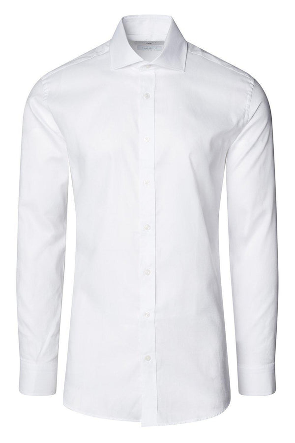 Convertible Cuff Oxford Cotton Spread Collar Dress Shirt - White