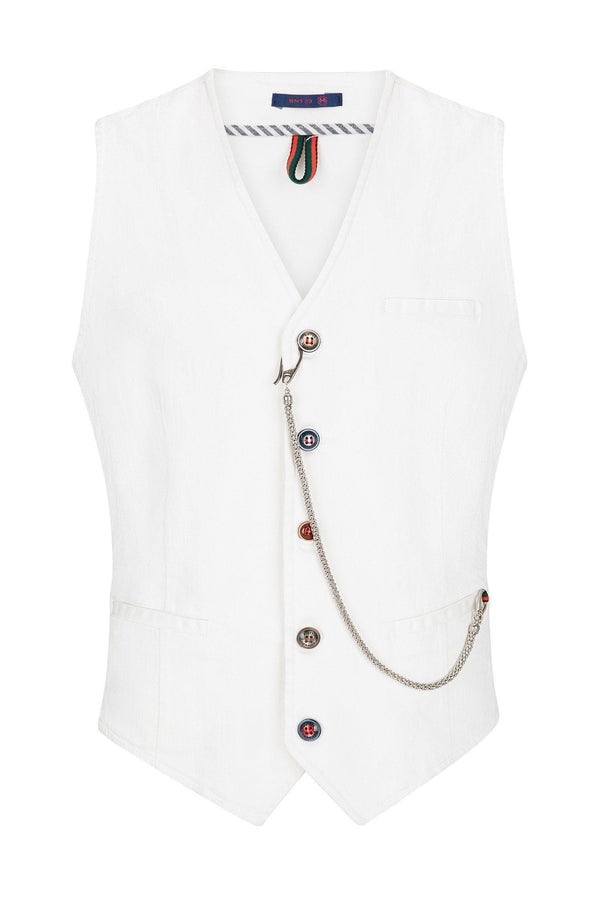 Cotton Vest - White - Ron Tomson