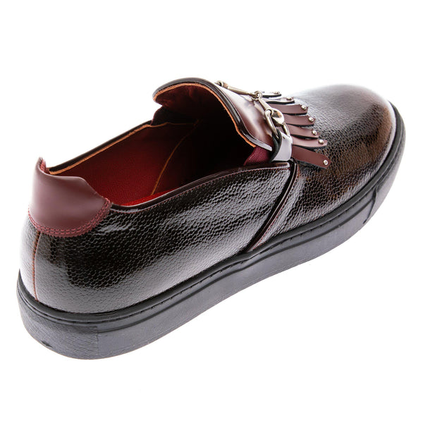 Cracked Leather Slip On Sneakers - Black Burgundy - Ron Tomson