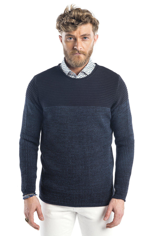Crew Neck Contrast Panel Pull-Over Sweater - Navy Sax - Ron Tomson