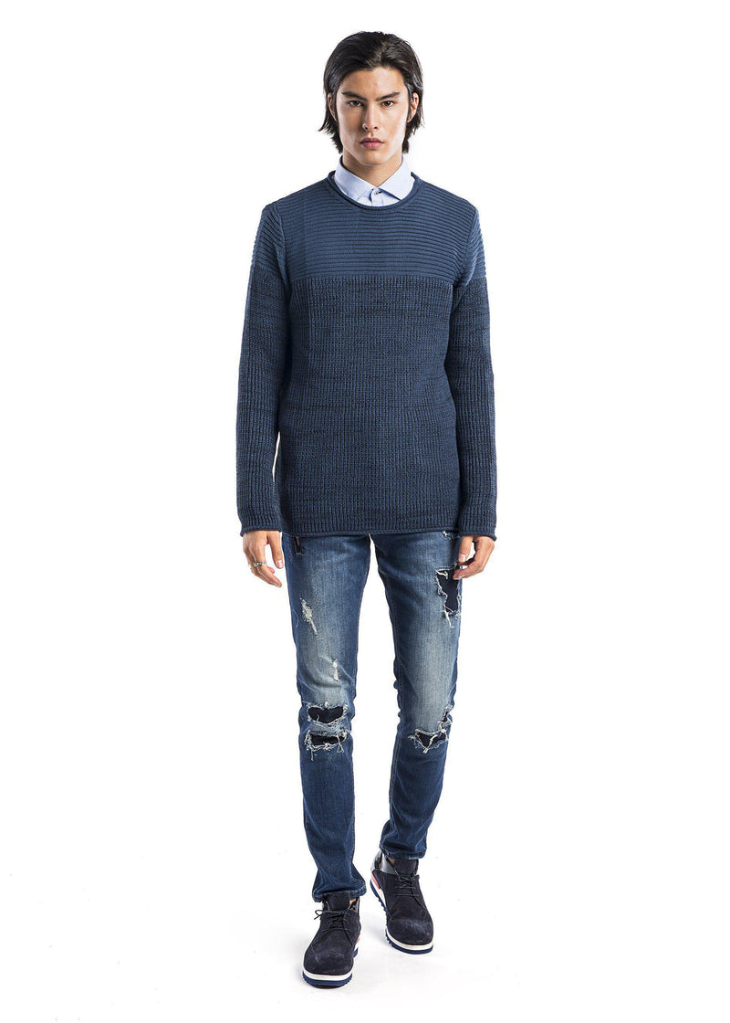 Crew Neck Contrast Panel Pull-Over Sweater - Sax Navy