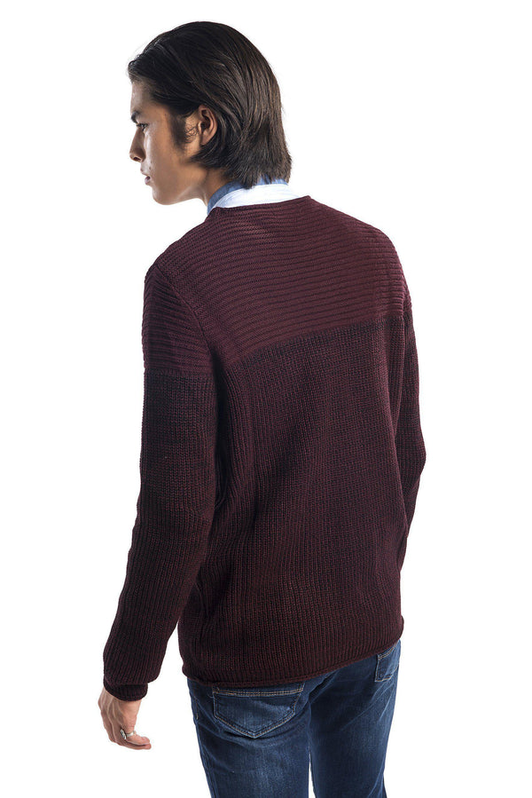 Crew Neck Contrast Panel Pull-Over Sweater - Wine - Ron Tomson