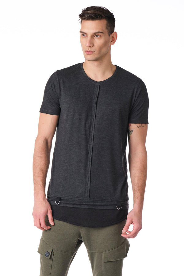 Crew Neck Layered T-shirt - Anthracite - Ron Tomson