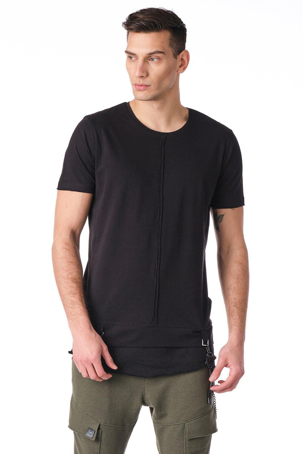 Crew Neck Layered T-shirt - Black - Ron Tomson