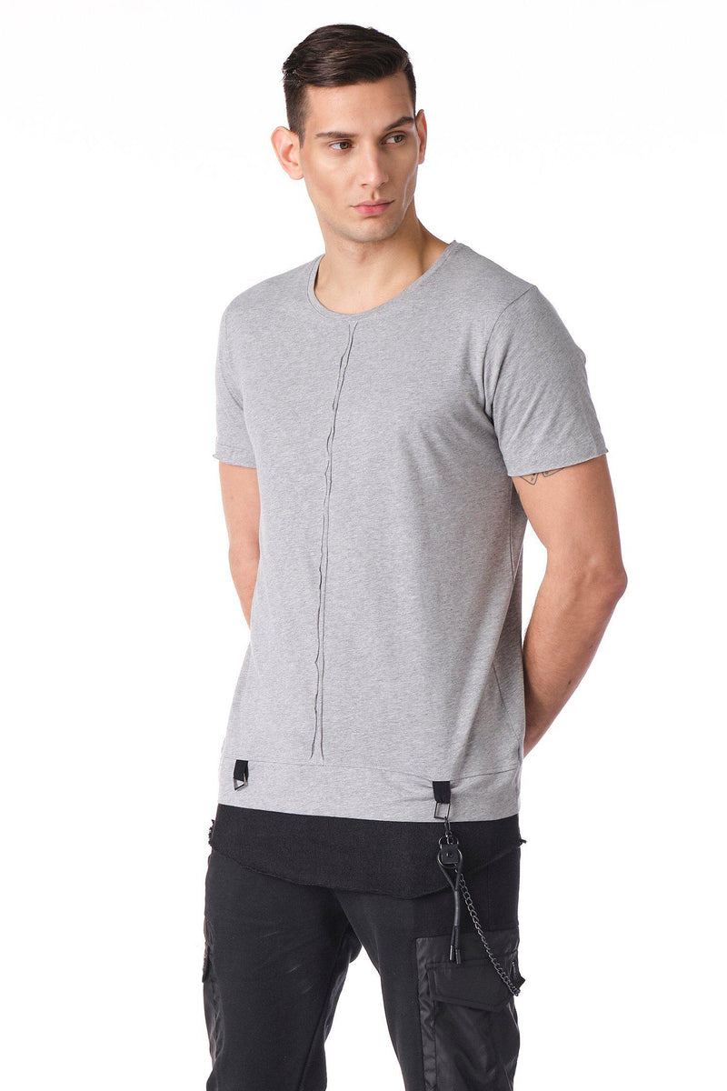 Crew Neck Layered T-shirt - Grey - Ron Tomson