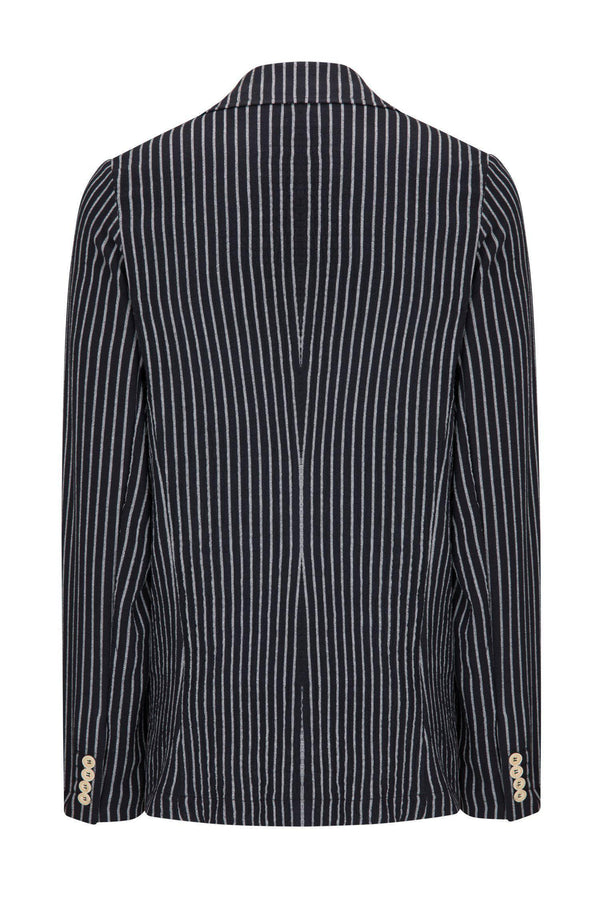 CRINKLE STRIPED BLAZER - BLACK WHITE
