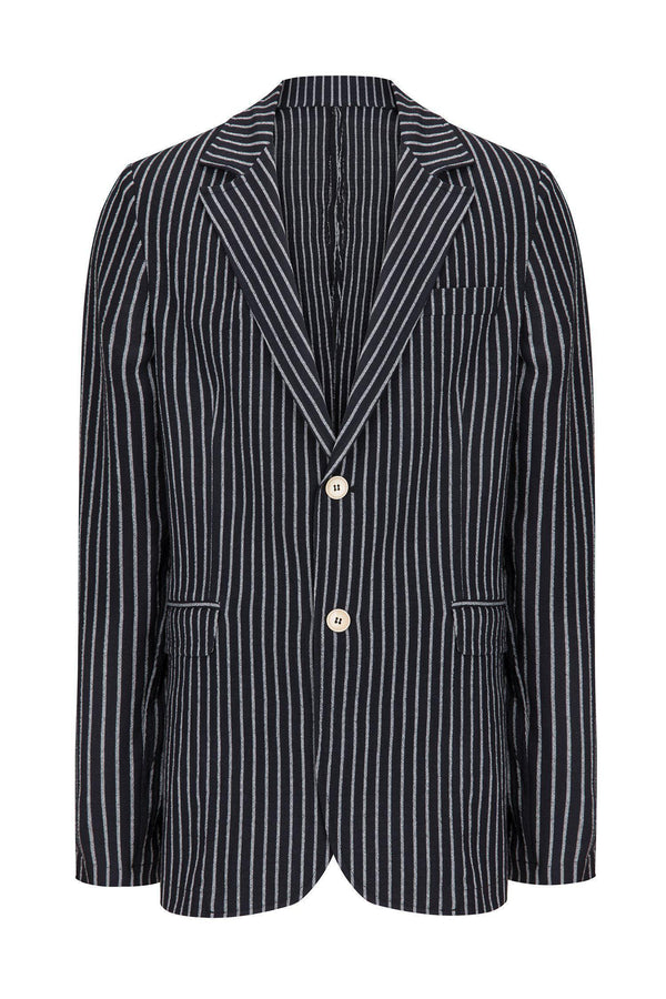 CRINKLE STRIPED BLAZER - BLACK WHITE - Ron Tomson