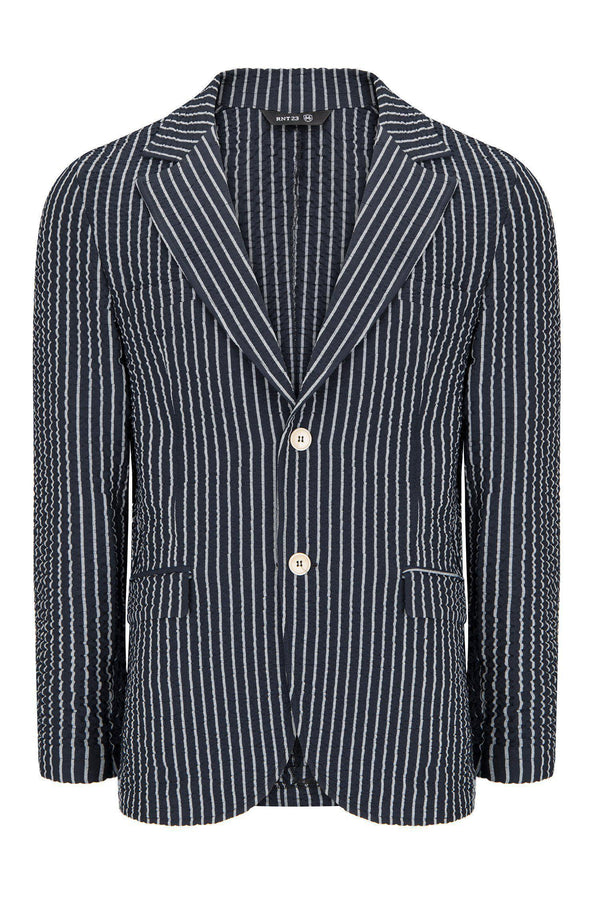 CRINKLE STRIPED BLAZER - NAVY WHITE - Ron Tomson
