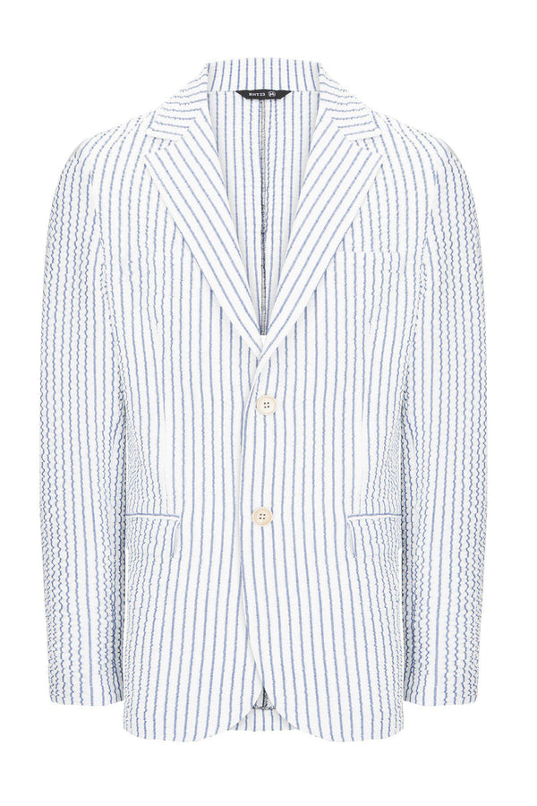 CRINKLE STRIPED BLAZER - WHITE NAVY