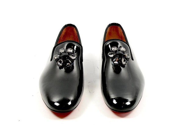 Crystal Patent Loafer - Black