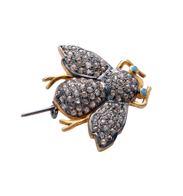 Crystal Turquoise Bee Pendant Brooch - Ron Tomson