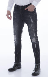 Deep Distressed Pierced Jewel Slim Fit  Jeans - Black White - Ron Tomson