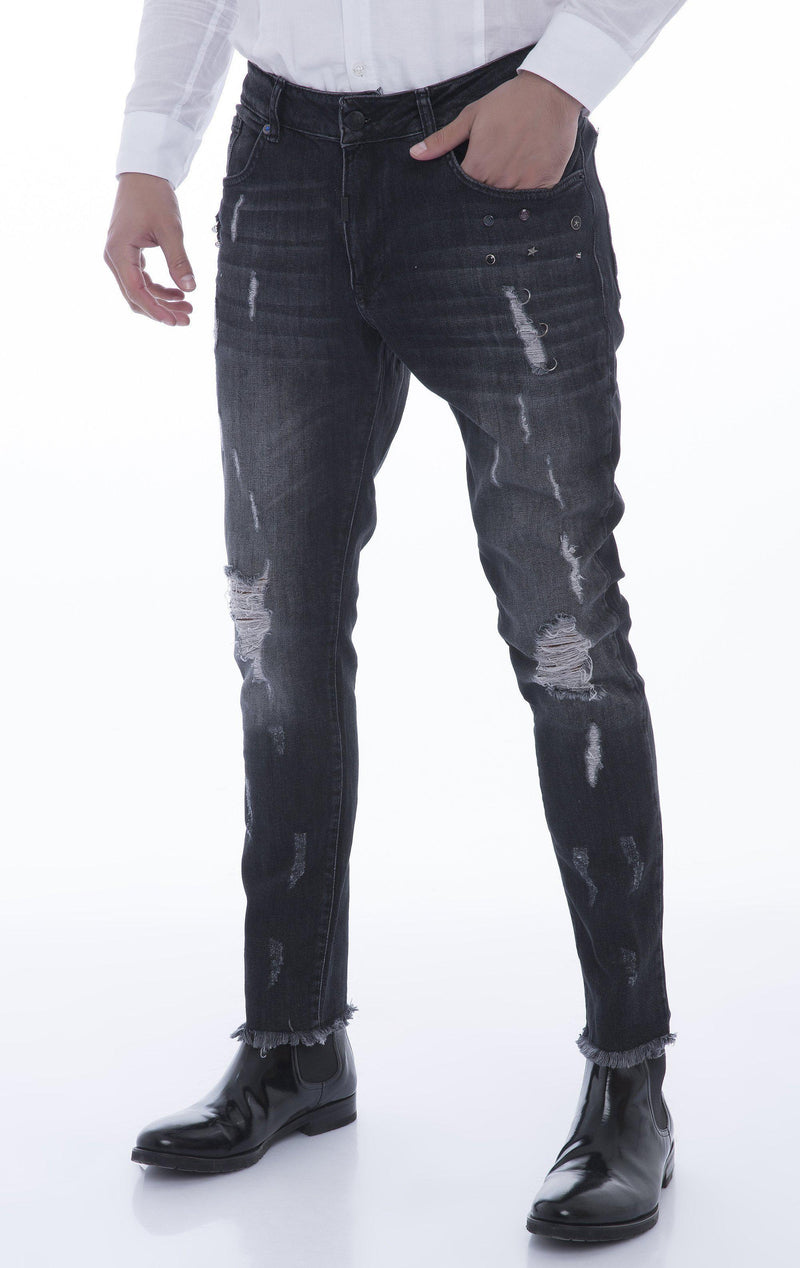 Deep Distressed Pierced Jewel Skinny Jeans-Jeans-Ron Tomson-BLACK WHITE-29-Ron Tomson